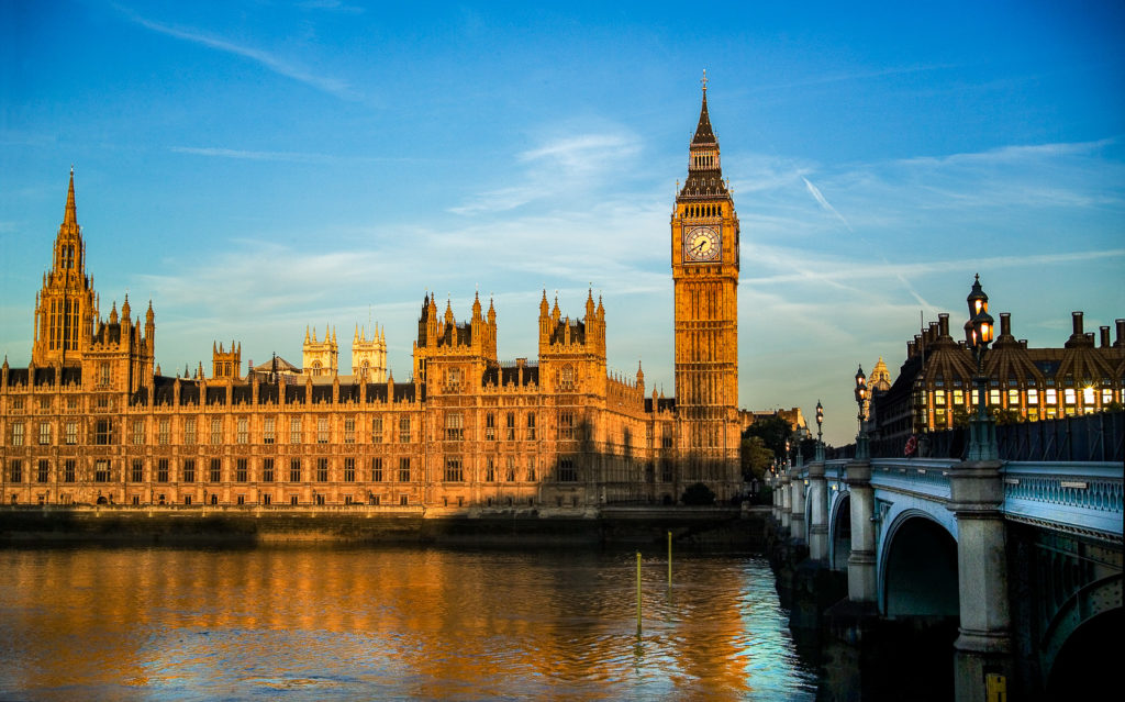 Photograph of Houses of Parliament at dawn, London, England