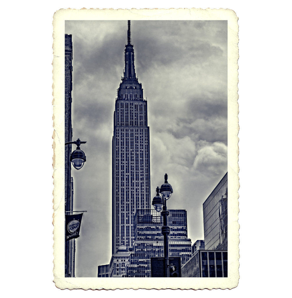 Postcard B&W photo of The Empire State Building in New York City, USA