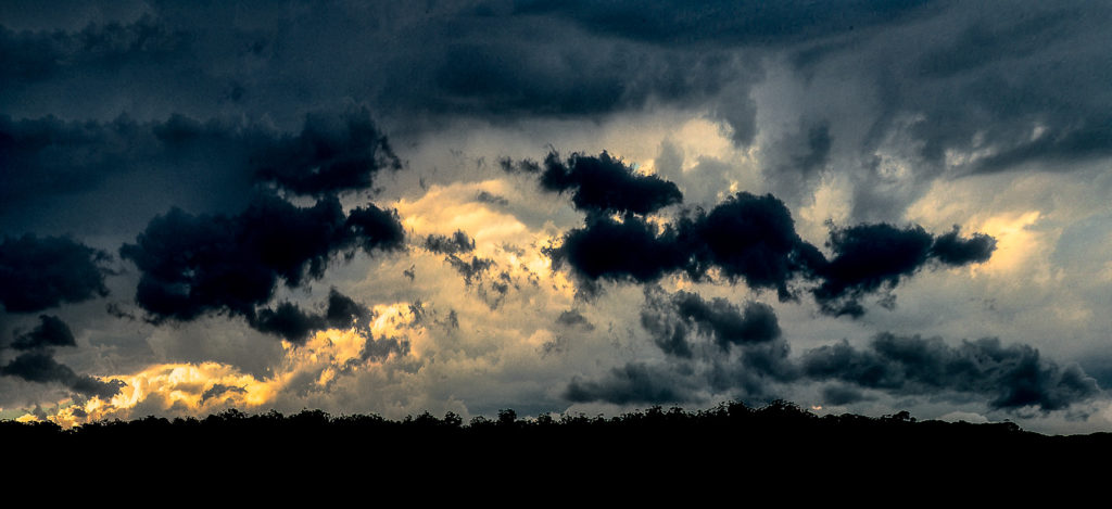 Panoramic Photograph of stormy skies over Short Point beach, Merimbula, New South Wales, Australia