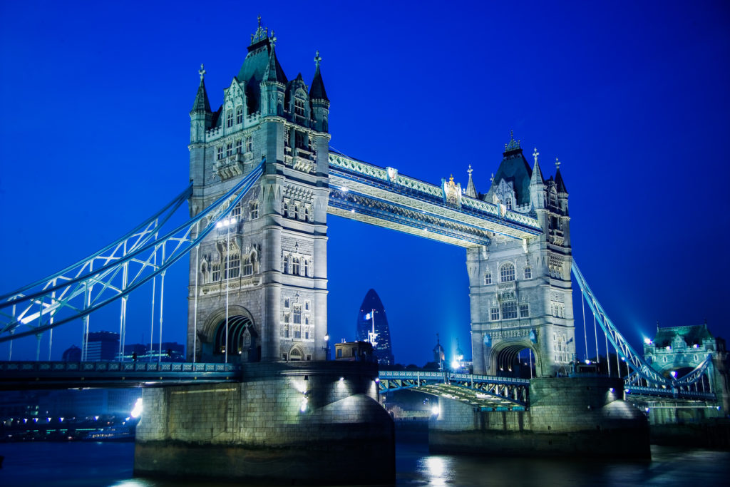 Photograph of Tower Bridge at night, London, England