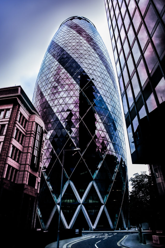 Photograph of the Gherkin, modern architecture, City of London, England